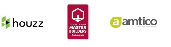 Houzz logo, Amtico Logo, Federation of master builders